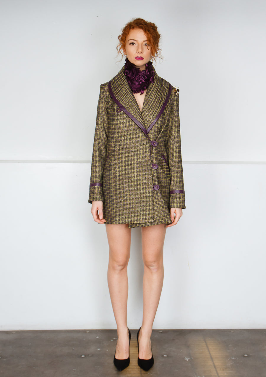 CHARTREUSE WOOL CHECK COAT