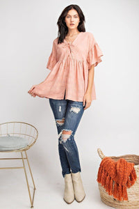 Bell Sleeve Button Front Tunic