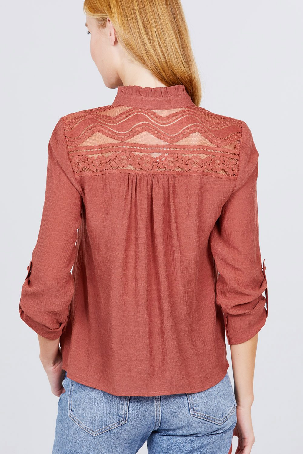 Button Down space Back Woven Top