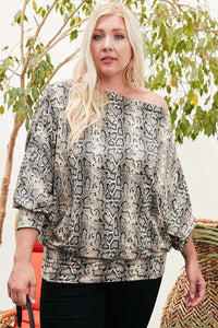 Bubble Sleeve Snake Print Top