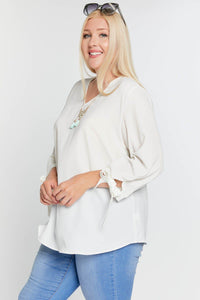 3/4 Sleeve Tie Accent Blouse Top