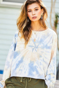 Oversize Fit Crop Tie-dye French Terry Pullover