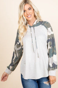 Camo French Terry Casual Hoodie