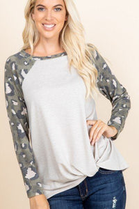 Twist Top With Animal Print Sleeves