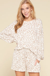 Leopard Printed Knit Loungewear Set