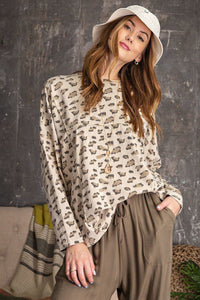 Leopard Printed Garment Dye Loose Fit Knit Top