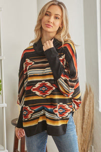Tribal Patterned Cowl Neck Top