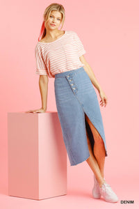 Asymmetrical Waist Split Denim Skirt