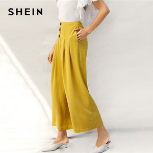 67e366f4eb SHEIN Lady Zip Back Buttoned Front Pleated Wide Leg Pants Women Spring High  Waist Loose Elegant Workwear Women Trousers