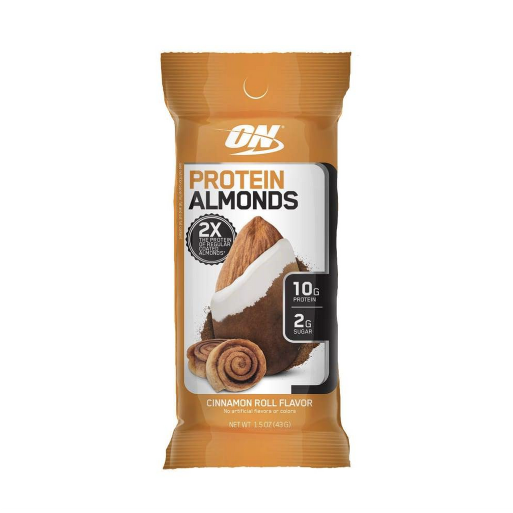 Optimum Nutrition Protein Almonds 43 gm. - Cinnamon Roll Flavour - Single Bag - Best by: 02/19