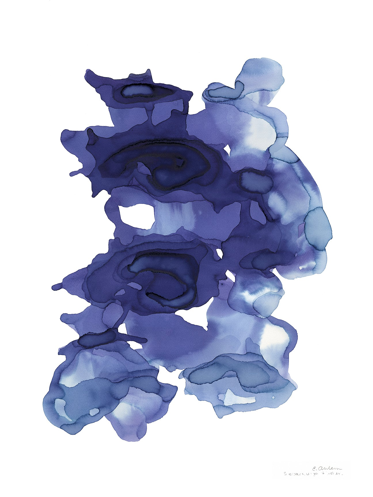 blue abstract art from botanical ink