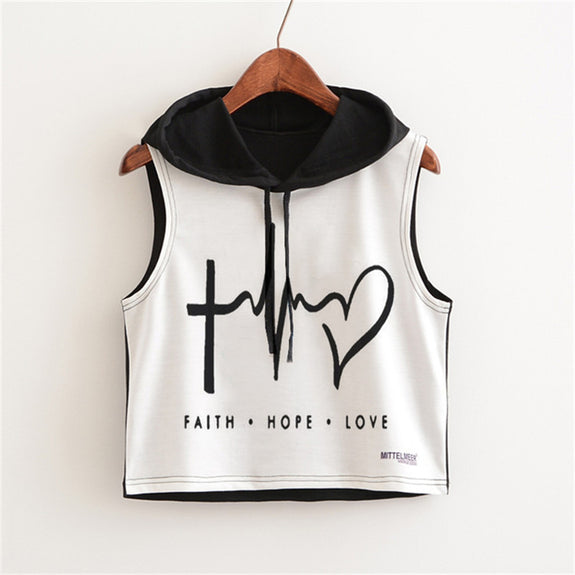 Faith-Hope-Love Cropped Hoodie