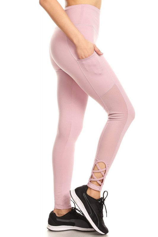 Rose Gold Mesh-Panel Leggings