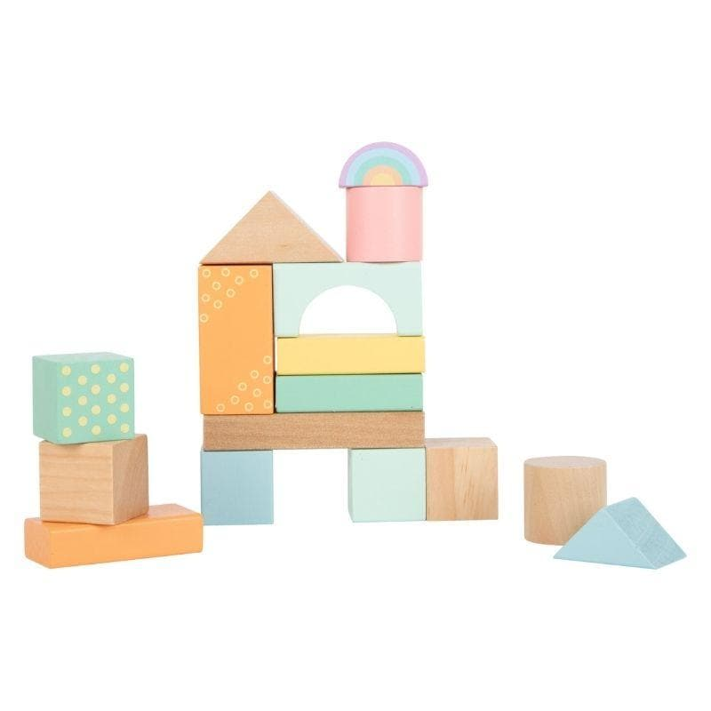 blocs de construction en bois pastel naturel enfant
