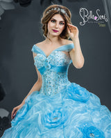 3d Flowers quinceanera dress