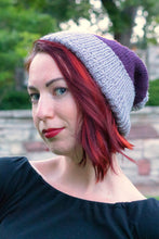 Load image into Gallery viewer, Kelsi modelling the purple and grey toque