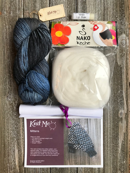 Knit Me December subscription box yarn, roving mittens pattern