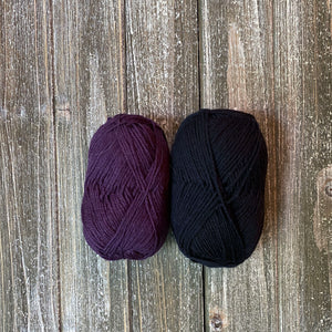 Eggplant and black yarn