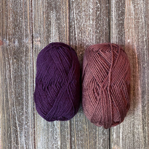 Eggplant and brown yarn