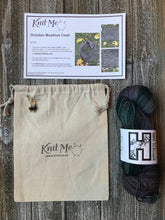 Load image into Gallery viewer, Example of contents of Wonderland Subscription box. Skein of Grey Hypothesis Yarn, Work In Progress Bag, Stitch Markers and Pattern