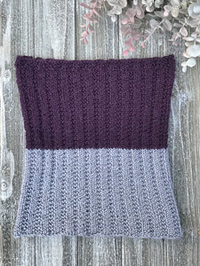 Knit Me Cowl Kit Sample in purple and grey