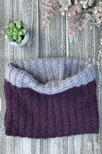 Load image into Gallery viewer, Knit Me Cowl Kit Sample in purple and grey