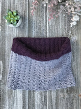 Load image into Gallery viewer, Knit Me Cowl Kit in purple and grey