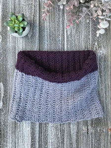 Knit Me Cowl Kit in purple and grey