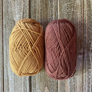 Mustard and brown yarn
