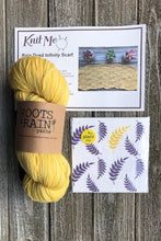 Load image into Gallery viewer, Example of contents of Wonderland Subscription box. Skein of Yellow Roots and Rain Yarn, Greeting Card and Pattern
