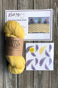 Example of contents of Wonderland Subscription box. Skein of Yellow Roots and Rain Yarn, Greeting Card and Pattern