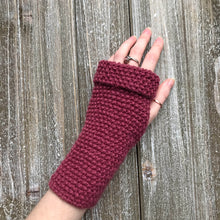 Load image into Gallery viewer, Fingerless Glove Sample knit up in Wine colour