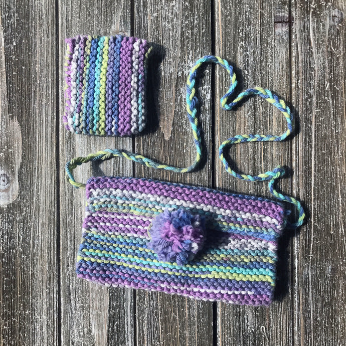 Purse and Lip Gloss Holder-Beginner Knitting Kit for Kids