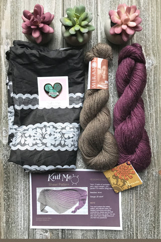 Knit Me October Subscription box picture with enamel pin from Twill and Print