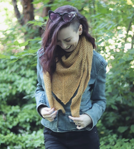 Kelsi modelling the extra cozy All Weather Wrap in the goldenrod colour