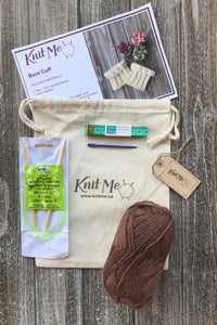 Boot Cuffs Contents: Brown worsted weight wool, Pattern, Knitting Needles, Wool Needle, Work In Progress Bag