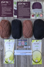 Load image into Gallery viewer, Knit Me Toque / Hat and Cowl Kit Brown / Black