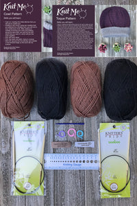 Knit Me Toque / Hat and Cowl Kit Brown / Black