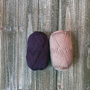 Eggplant and taupe yarn