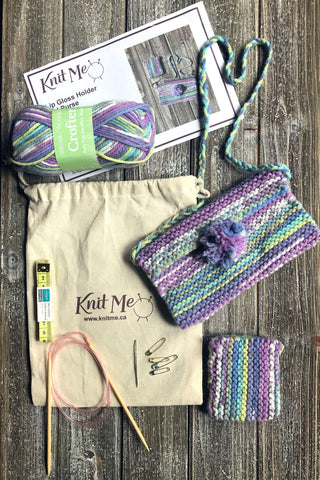 knitted purse and matching lip gloss holder knitting kit