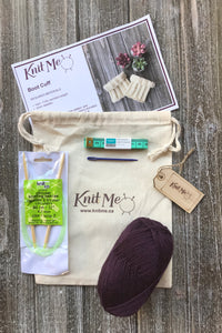 Boot Cuffs Contents: Eggplant worsted weight wool, Pattern, Knitting Needles, Wool Needle, Work In Progress Bag