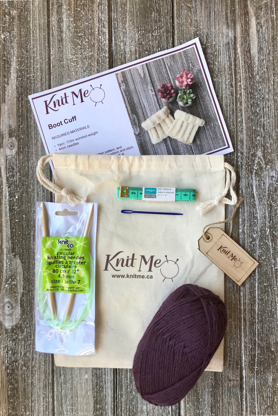 Accessory Set Contents:Egglplant worsted weight wool, Pattern, Knitting Needles, Wool Needle, Work In Progress Bag