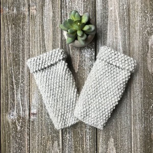 Fingerless Glove Sample knit up in Grey colour