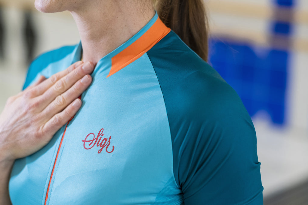 'Ocean Recycle Dusk' Cycling Jersey for Women - Detail