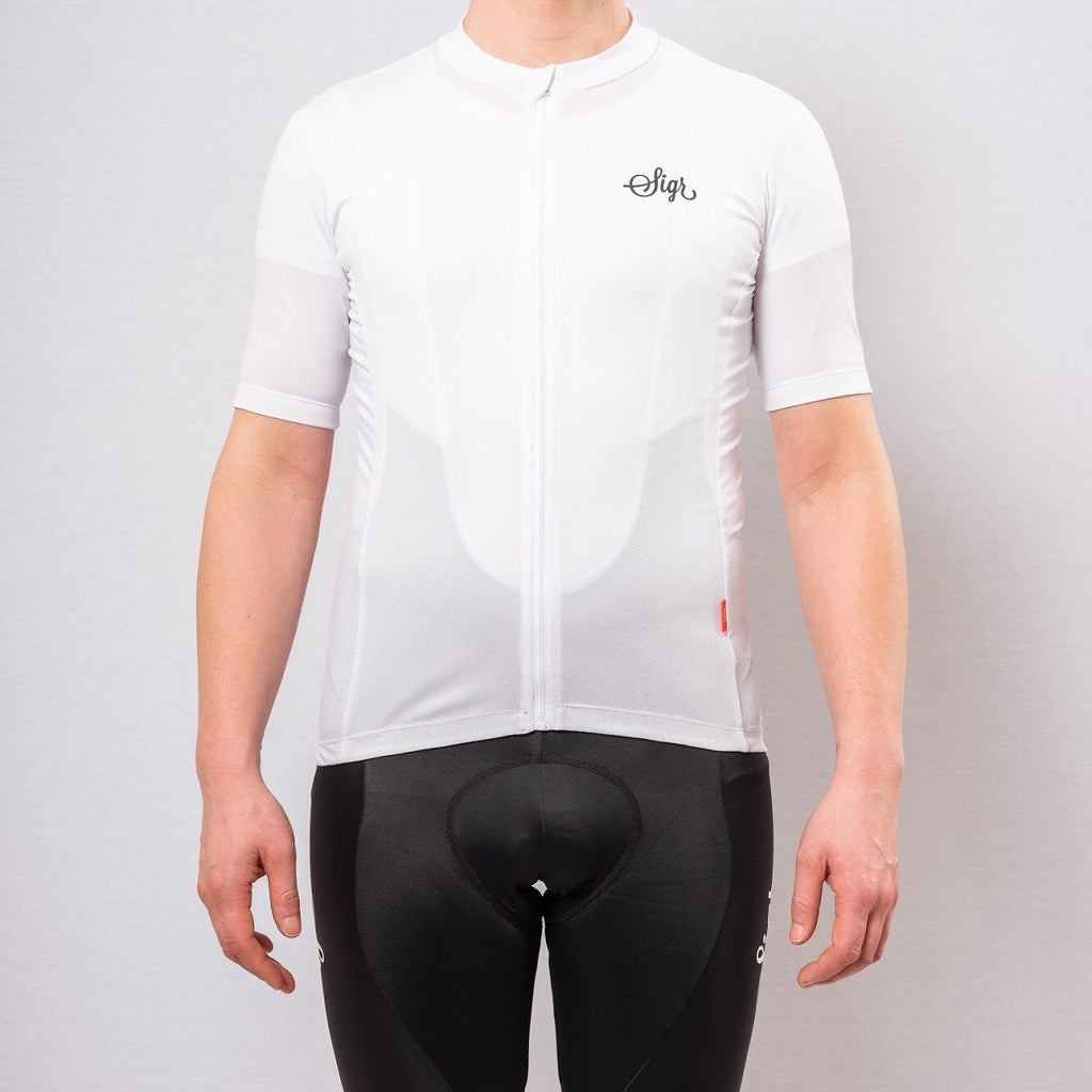 'Syren' White Cycling Jersey for Men