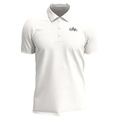 Sigr 'Pike' White Polo Shirt with Sigr Logo for Men