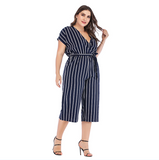Plus Size Summer Elegant Belted Striped Jumpsuit