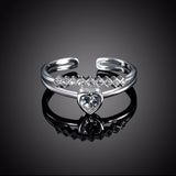 Wedding Jewelry 925 Sterling Silver Heart Zirconia Adjustable Love Rings