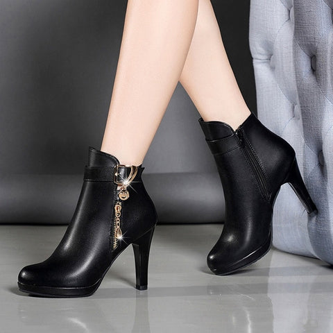 Zipper Casual Leather Ankle Boots