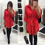 Irregular tie waist mini shirt dress